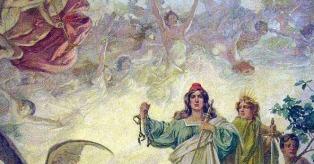 Alegoría de la Declaración de la Independencia, por Luis de Servi. Pintura sobre tela en el techo del Salón Blanco de la Casa Rosada.