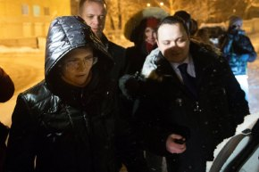 Svetlana Davydova, left, was released from prison on Tuesday. CREDIT PHOTOGRAPH BY PAVEL GOLOVKIN / AP