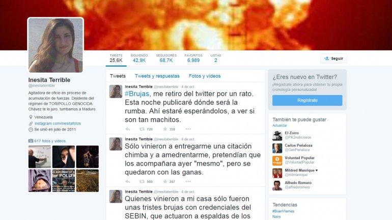 Joven venezolana lleva 294 días detenida por tuitear contra Nicolás Maduro | Crisis política en Venezuela, Venezuela, presos politicos, Nicolás Maduro, Robert Serra, Diosdado Cabello, Asamblea Nacional, Caracas, En Twitter, Redes Sociales - América