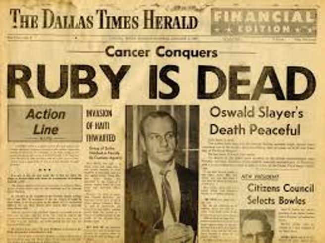 Famosa portada de la muerte de Ruby en el The Dallas Times Herald