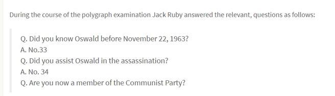 Parte de las preguntas del polígrafo a la que fue sometido Jack Ruby