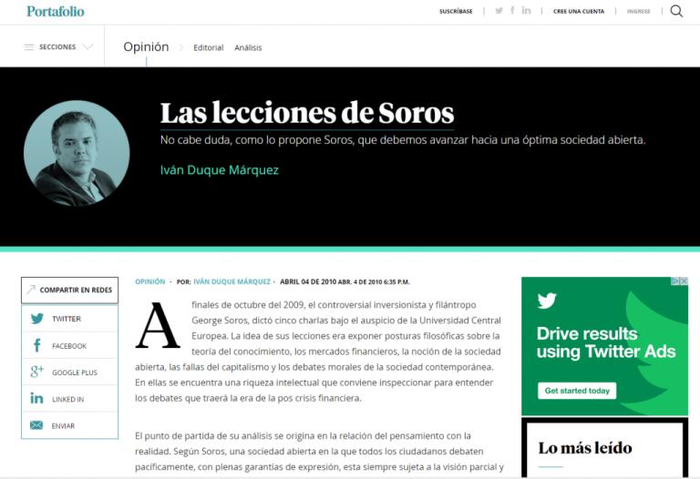 Una de las apologías de Duque a George Soros