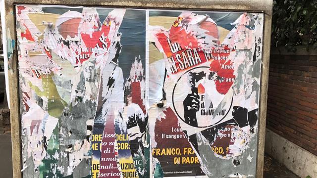 Por la tarde, los afiches ya habían sido removidos