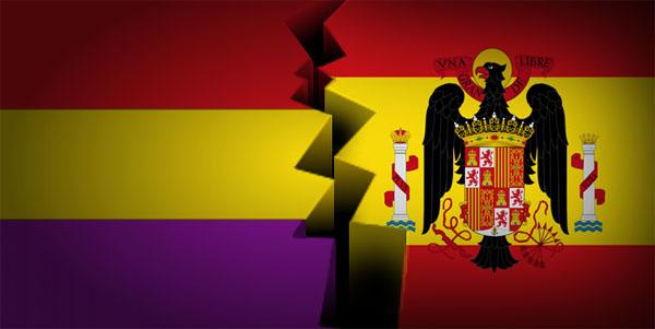 España bandera republicana y bandera española