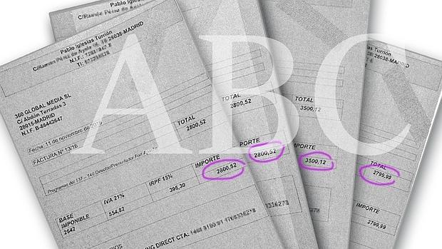 Cuatro de las últimas facturas que Pablo Iglesias giró a la productora iraní 360 Global Media S. L.