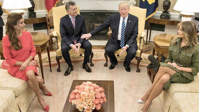 Macri y Trump, junto a las primeras damas Juliana y Melania, ayer en la Casa Blanca
