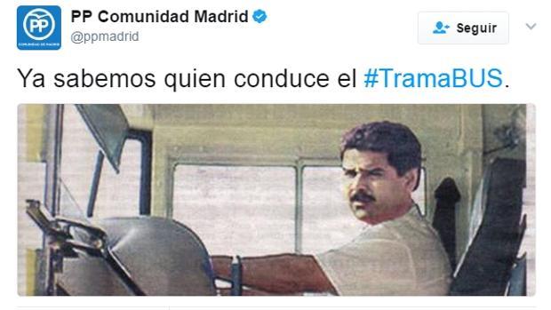 El PP de Madrid reacciona con ironía al «tramabús» de Podemos y muestra a Maduro como su conductor