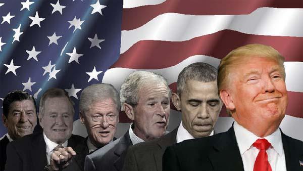 Trump bandera y otros presidentes