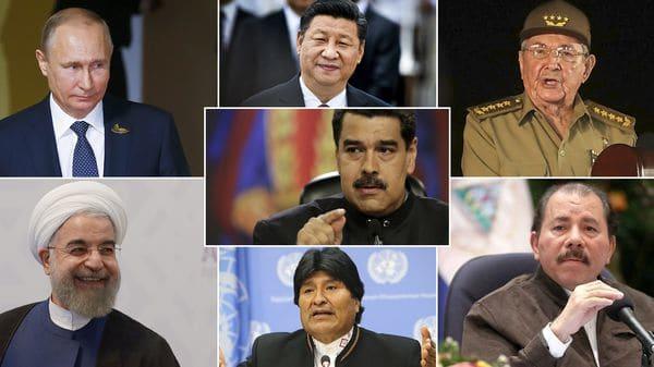 Nicolás Maduro y sus principales aliados, Vladimir Putin, Xi Jinping, Raúl Castro, Hassan Rouhani, Evo Morales y Daniel Ortega