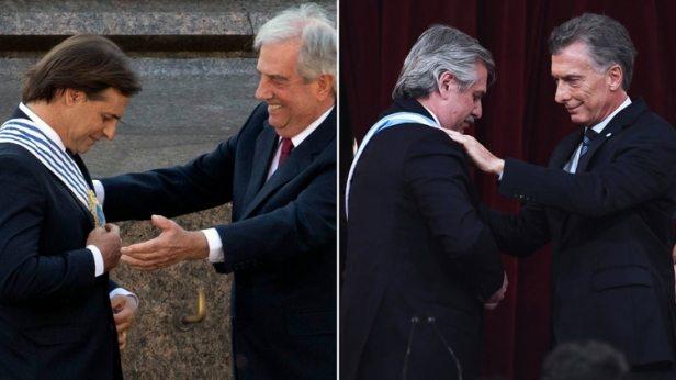 Lacalle Pou y Alberto Fernández, durante sus asunciones presidenciales, en Uruguay y Argentina