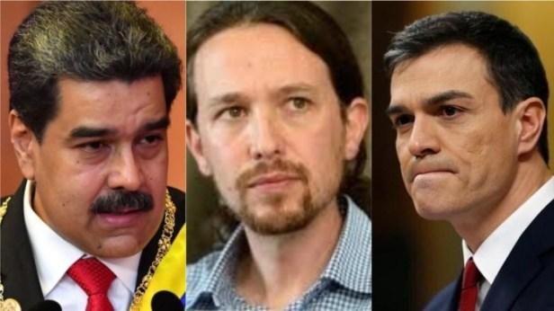 Nicolás Maduro, Pablo Iglesias y Pedro Sánchez