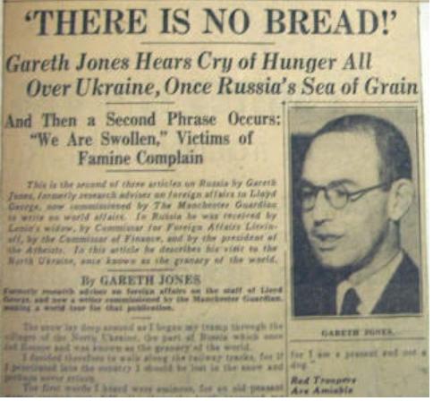Periodista galés publicó una historia sobre la hambruna rusa