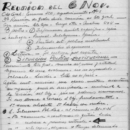 Apuntes de la reunión de altos mandos de noviembre de 1975